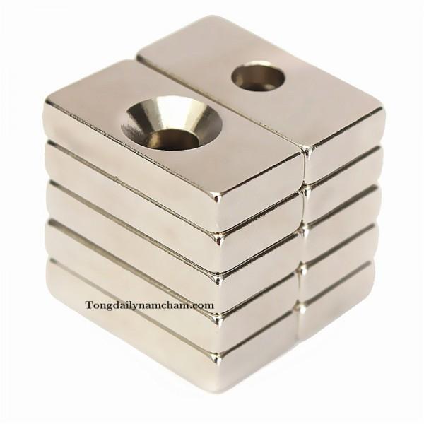 Nam châm viên trắng đất hiếm 15x10x5mm lỗ 4mm