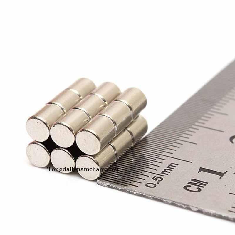 Nam châm viên trắng đất hiếm 4x5mm - Round neodymium magnet 4x5mm