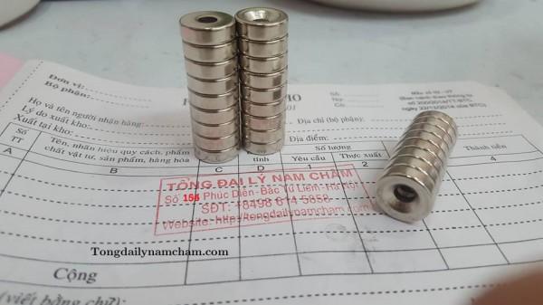 Nam châm viên 15x5mm lỗ vát 5mm