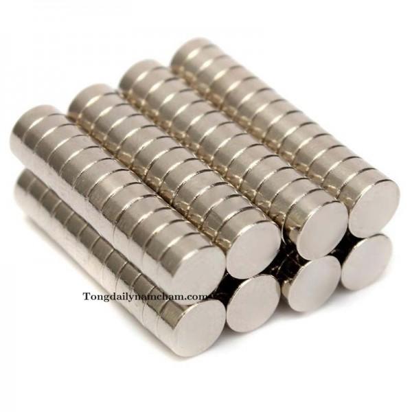Nam châm viên trắng đất hiếm 7x5mm - Round magnet 7x5mm