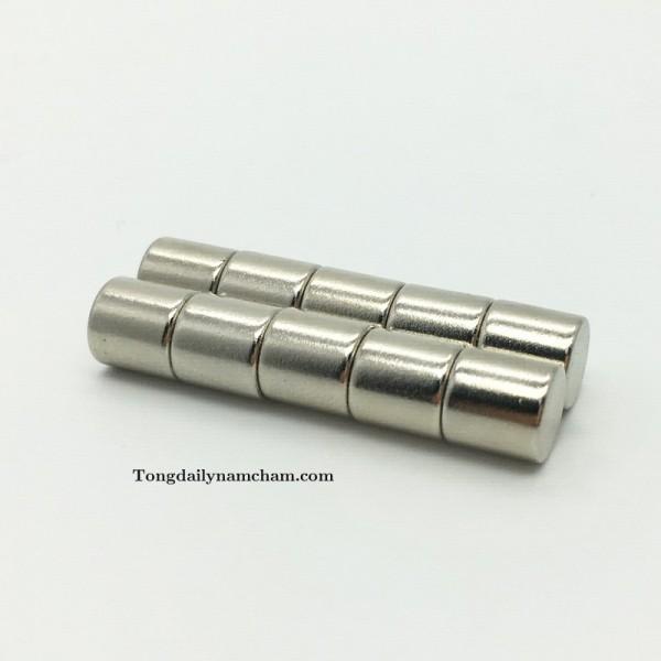 Nam châm viên trắng đất hiếm 5x8mm-Round magnet 5x8mm Neodymium